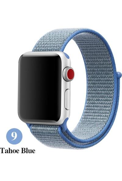 Schulzz Apple Watch Seri 2 3 4 - 42-44 mm Spor Loop Dokuma Kordon -Mavi