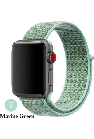 Schulzz Apple Watch Seri 2 3 4 - 42-44 mm Spor Loop Dokuma Kordon - Açık Yeşil