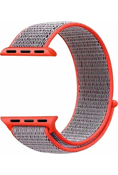 Schulzz Apple Watch Seri 2 3 4 - 42-44 mm Spor Loop Dokuma Kordon -Açık Pembe