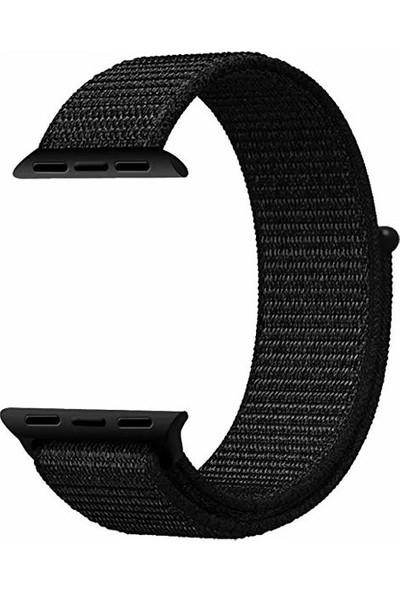 Schulzz Apple Watch Seri 2 3 4 - 42-44 mm Spor Loop Dokuma Kordon -Siyah