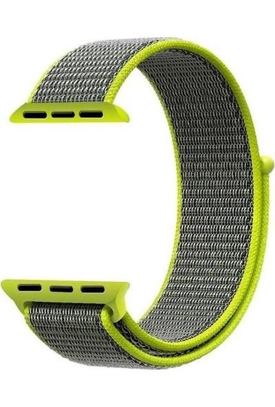 Schulzz Apple Watch Seri 2 3 4 - 42-44 mm Spor Loop Dokuma Kordon -Yeşil