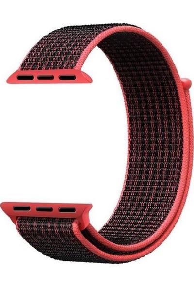 Schulzz Apple Watch Seri 2 3 4 - 42-44 mm Spor Loop Dokuma Kordon -Koyu Pembe