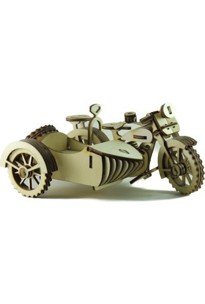 Mekafen Eğitim Mekafen Akademi Ahşap 100 Parça Sepetli Motosiklet 3D Maket Seti
