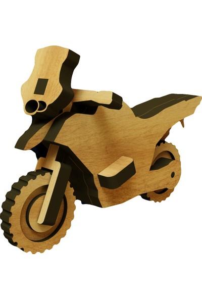 Mekafen Eğitim Mekafen Akademi Ahşap 12 Parça Bmw Motosiklet 3D Ahşap Maket Seti