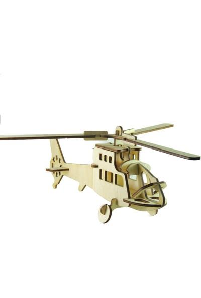 Mekafen Eğitim Mekafen Akademi Ahşap 21 Parça Helikopter 3D Maket Seti