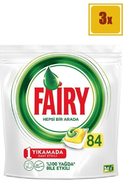 Fairy Hepsi Bir Arada Bulaşık Makinesi Deterjanı Kapsülü Limon Kokulu 84 Yıkama 3'Lü Set