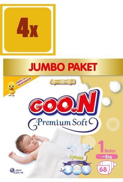Bebek Bezi Premium Soft Yenidoğan 1 Beden Jumbo Paket 68 Adet 4'Lü Set