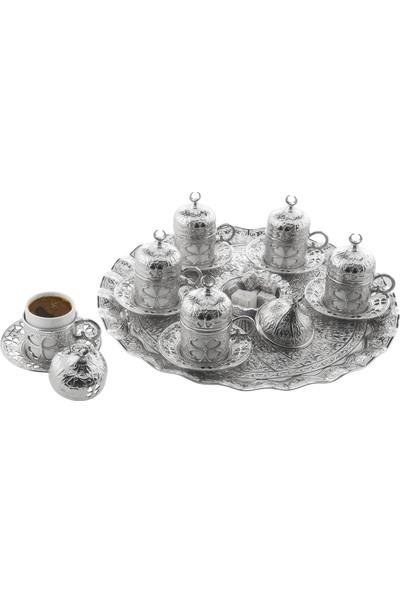 Oryant Yonca Yuvarlak 6'lı Kahve Seti Kutulu