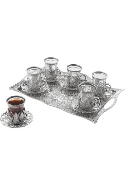 Oryant Hanedan Dikdörtgen 6'lı Çay Takımı Kutulu