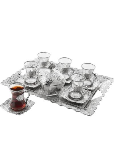 Oryant Beyzade 6'lı Çay Takımı Tepsili Şekerlikli Kutulu