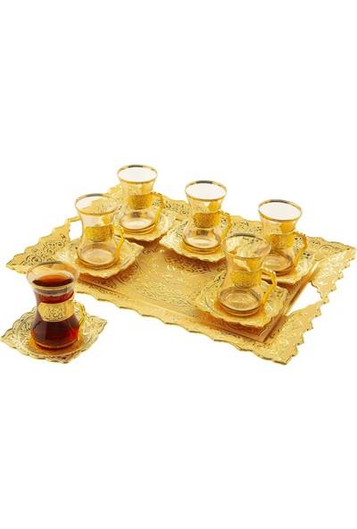 Oryant Beyzade 6'lı Çay Takımı Tepsili Kutulu