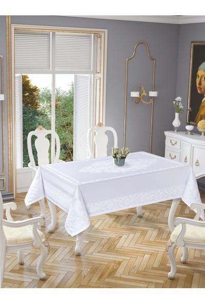 LA8127 Gold Etamin Damask Leke Tutmaz Beyaz Masa Örtüsü 150x220 cm