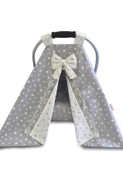 Jaju Baby Gri Yıldızlı %100 Pamuk Kumaş Puset Örtüsü ve İç Çarşaf