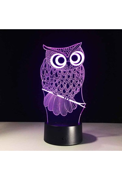 By-Lamp 3 Boyutlu Baykuş Yeni Lamba (7 Farklı Işık Rengi)