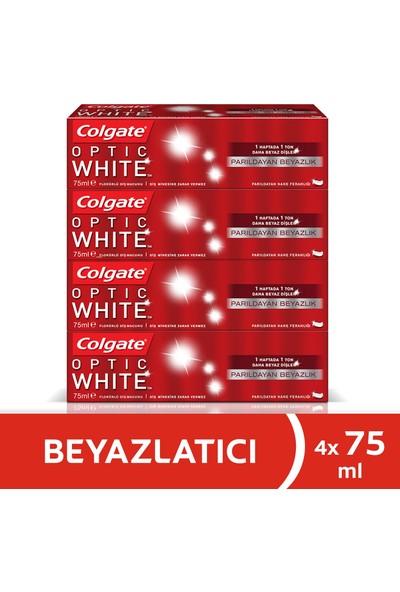 Colgate Optik Beyaz Parıldayan Beyazlık Beyazlatıcı Diş Macunu 75 ml x 4 Adet