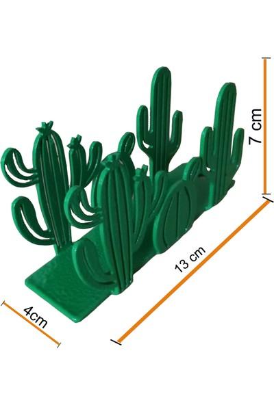 Simge Yapı Dekorasyon Kaktüs Figürlü Dekoratif Yeşil Metal Peçetelik