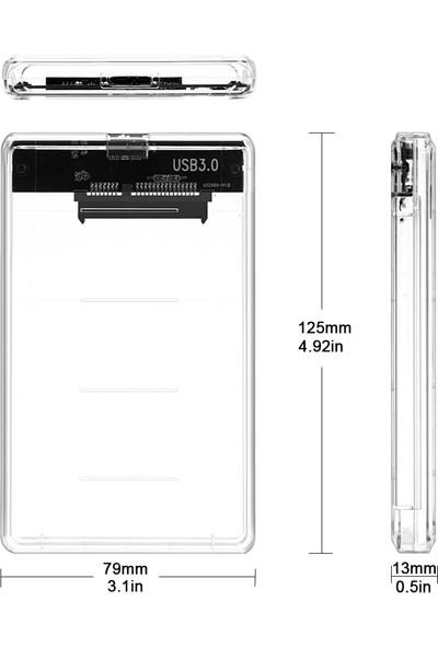 "Alfais 4266 2.5"" USB 3.0 Harici SSD Harddisk Şeffaf Taşınabilir HDD Kutusu"