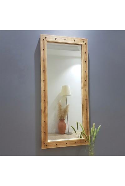 Neostill-Doğal Ahşap Dekoratif Salon Ofis Duvar Ayna 110X50ES