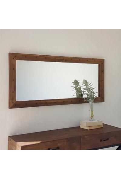 Neostill-Doğal Ahşap Dekoratif Salon Ofis Duvar Ayna 110X50 Cv