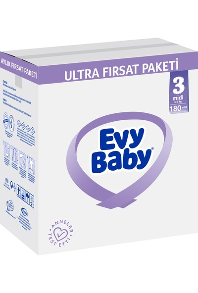 Evy Baby Bebek Bezi 3 Numara Midi 180 Adet + Islak Havlu