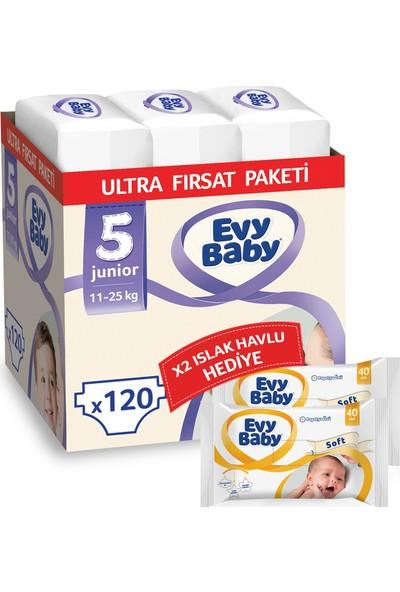 Evy Baby Bebek Bezi 5 Numara Junior 120 Adet + Islak Havlu