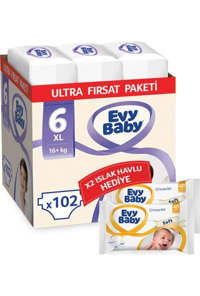 Evy Baby Bebek Bezi 6 Numara Ekstra Large 102'li + Islak Havlu