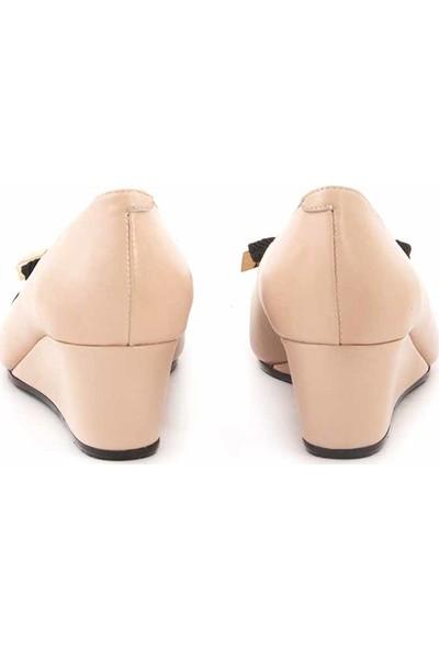 Rouge Deri Dolgu Topuklu Kadın Topuklu Ayakkabı 9939