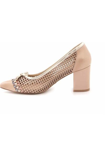 Rouge Deri Kisa Topuklu Kadın Topuklu Ayakkabı H102