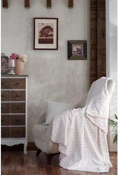 Lady Moda Home %100 Organik Pamuklu Bebek Battaniyesi Pink Star