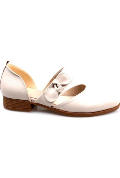 Keçeli Kadın Krem Yazlık Babet-Ayakkabı