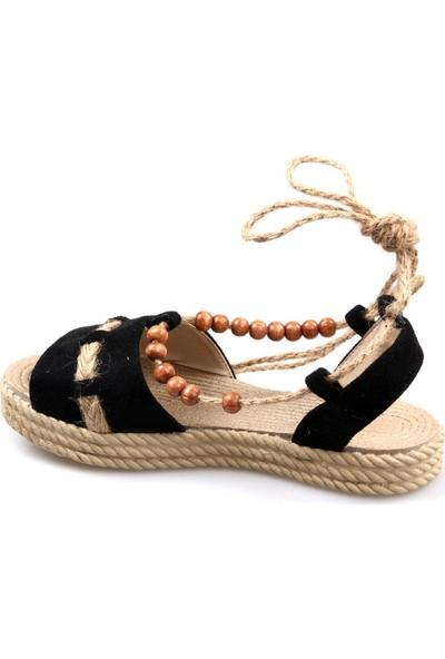 Keçeli Kadın Siyah Sandalet