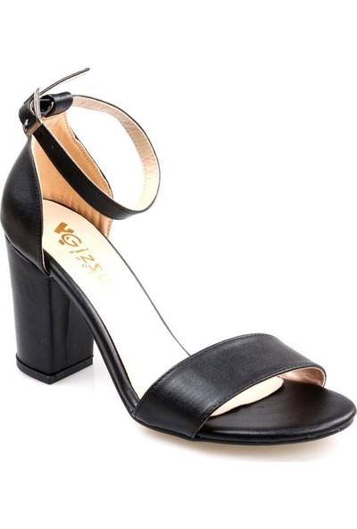 Gizsah Kadın Tek Bant Siyah Sandalet Ayakkabı