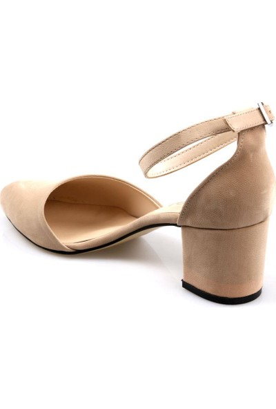 Gizsah Kadın Fantezi Kısa Topuklu Vizon Yazlık Ayakkabı