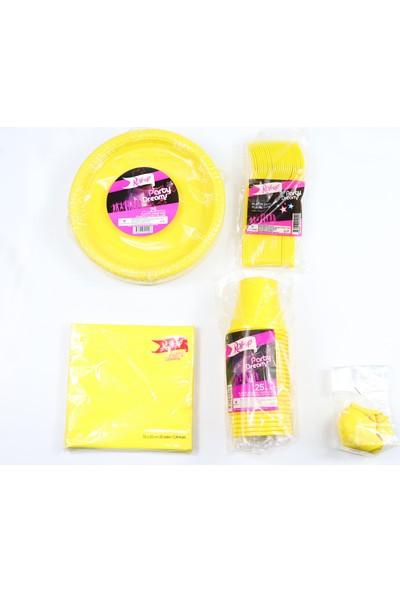 Roll Up Renkli Sarı Doğum Günü Sofra Seti 25 Kişilik