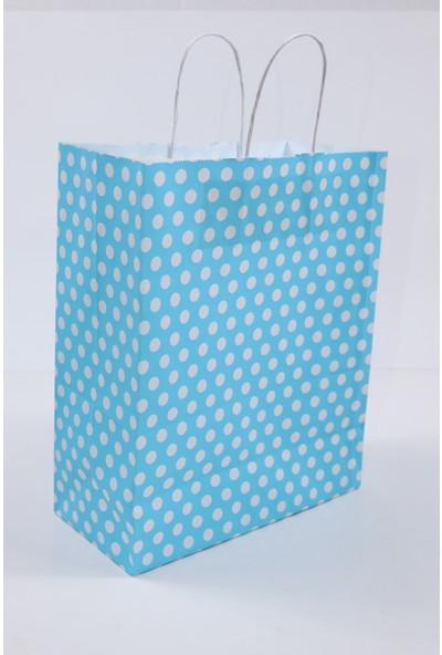 Roll-Up Kraft Çanta 25x12x31cm 25'li Paket (Orta Boy) Mavi