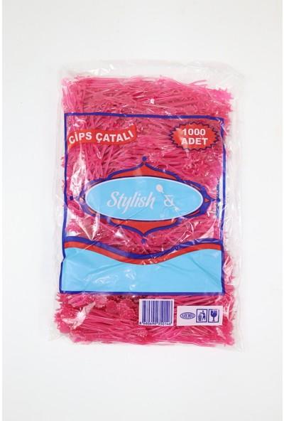 Plastik Cips Çatalı (Şeytan) 1000'li Pembe