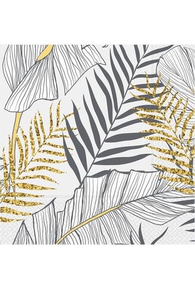 Roll-Up Kağıt Peçete Altın Simli Yapraklar Beyaz 33X33 cm