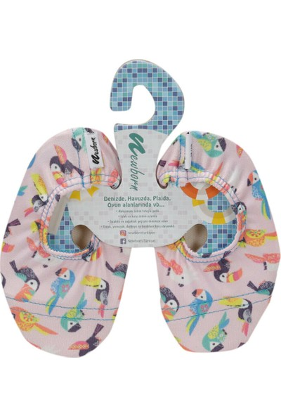 Newborn Naq4010 Aqua Socks Ornito Beyaz Pembe Unisex Çocuk Terlik