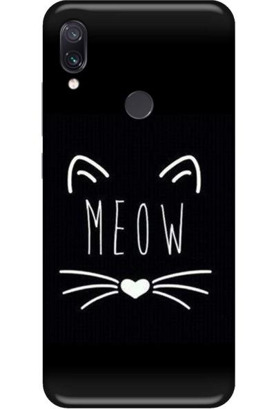 Svart Case Xiaomi Redmi Note 7 Meow Silikon Telefon Kılıfı