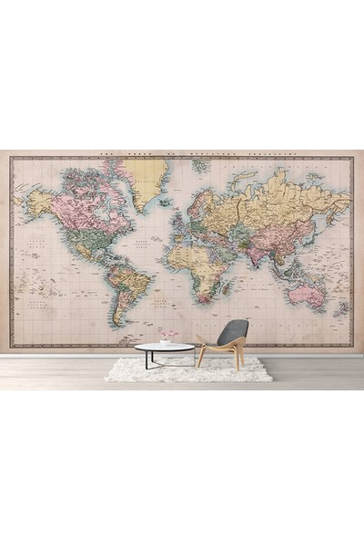 Moda Duvar Dünya Haritası Duvar Kağıdı Tek Parça Kanvas 300 x 260 cm-DH-90017006