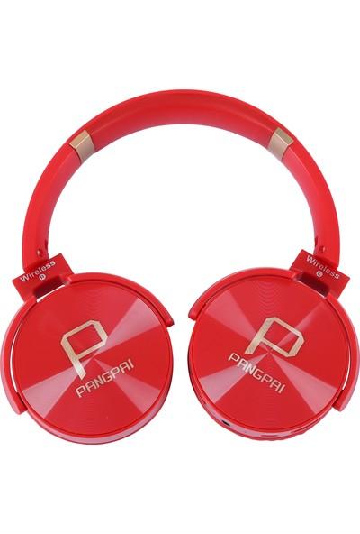 Pangpai Bluetoothlu Mi̇krofonlu Kulaklık Kırmızı