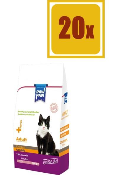 Pawpaw Tavuklu Kuru Kedi Maması 500 gr 20'li Set