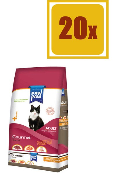 Pawpaw Gurme Kuru Kedi Maması 500 gr 20'li Set
