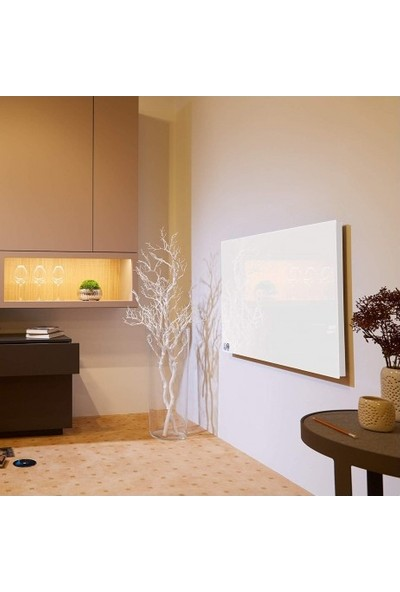 Kuas Beyaz Cam Panel İnfrared Isitici Isp-G 700 Watt 920 x 620 x 40 cm