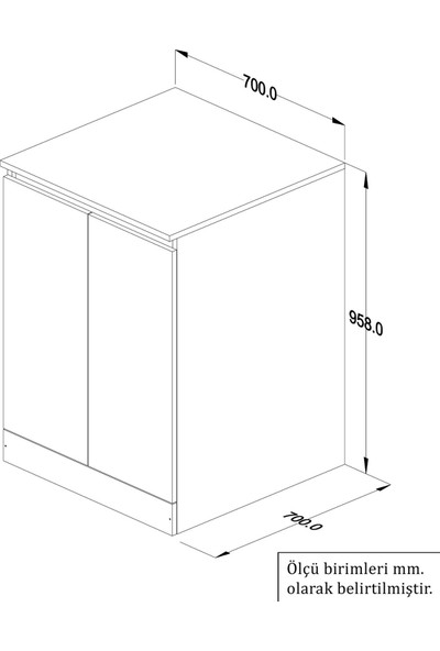 Banos Cm3 Kapaklı Çamaşır Makinesi Alt Dolabı - Beyaz