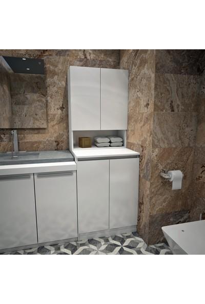 Banos Cd2 Çok Amaçlı Banyo Üst Dolaplı Çamaşır Makinesi Dolabı Takımı - Beyaz