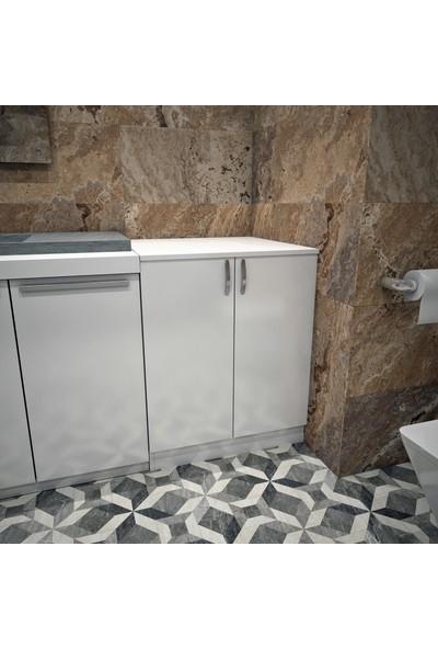 Banos Cm2 Kapaklı Çamaşır Makinesi Alt Dolabı - Beyaz