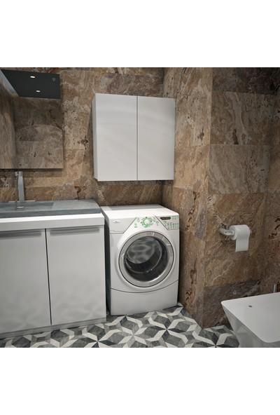 Banos Cu1 Çok Amaçlı Çamaşır Makinesi Üst Banyo Dolabı - Beyaz