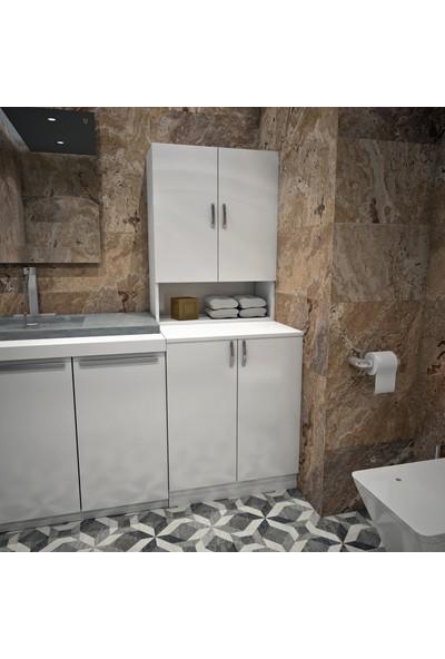 Banos Cd3 Çok Amaçlı Banyo Üst Dolaplı Çamaşır Makinesi Dolabı Takımı - Beyaz
