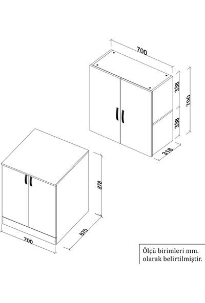 Banos Cd4 Çok Amaçlı Banyo Üst Dolaplı Çamaşır Makinesi Dolabı Takımı - Beyaz